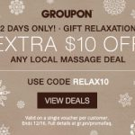 $10 off any massage Groupon deal