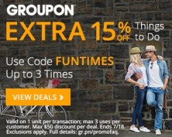 "Today only: Extra 20% off ""things to do"" Groupons"