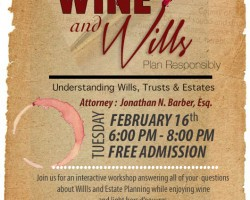 Free event to learn about wills. Includes free wine tasting