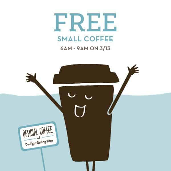 Daylight Saving Offer Free Coffee From Caribou