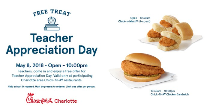 Free Food At Chick Fil A For Teachers Charlotte On The Cheap
