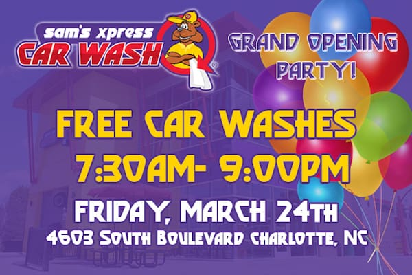 Today free car wash and free food at sams xpress car wash south its holding a grand opening party on friday march 24th 2017 from 730 am to 9 pm its offering free car washes all solutioingenieria Image collections