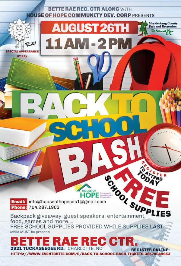 Free Back To School Bash With House Of Hope Charlotte On