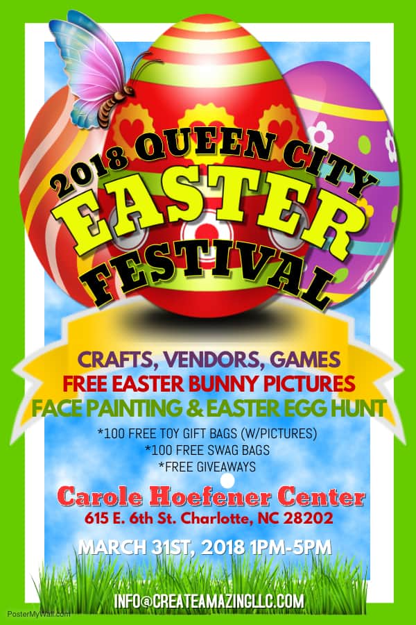 Queen city easter festival charlotte on the cheap the 2018 queen city easter festival takes place saturday march 31st 2018 from 1 pm to 5 pm at the carole hoefener center 615 east 6th street negle Image collections