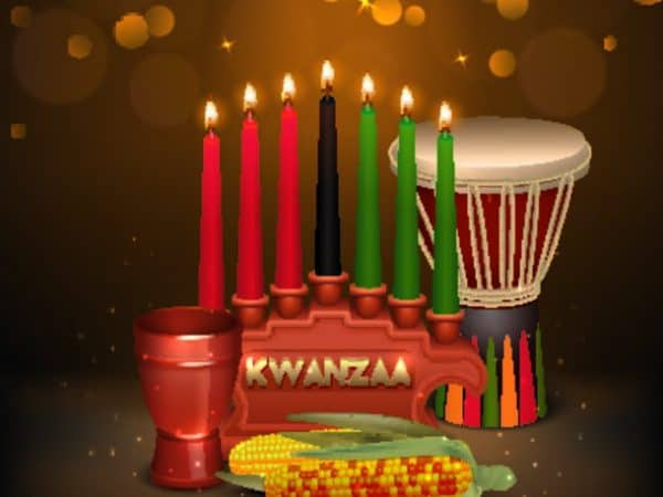 Kwanzaa Kinara Background Colorful Composition Poster African American Kwanzaa Holiday Celebration Colorful Festive Background Poster With Kinara Can