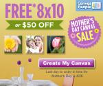 Free 8x10 photo canvas in time for Mother's Day